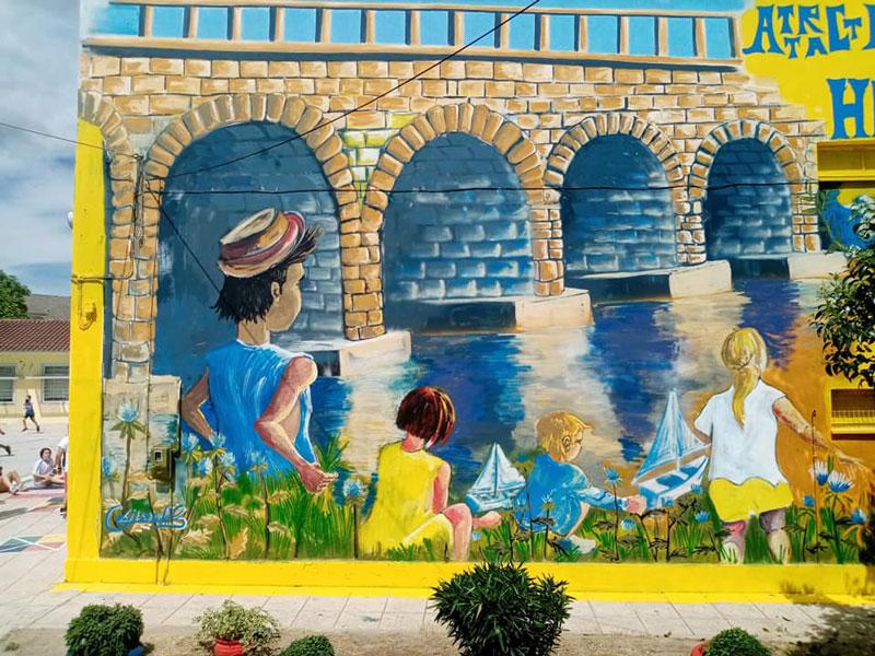 Εντυπωσιακή τοιχογραφία στο 5ο Δημοτικό Σχολείο Τυρνάβου
