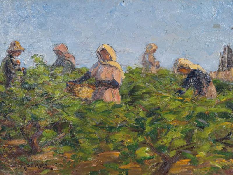 """Ο Διόνυσος κι ο τρύγος μέσα από τον πίνακα ζωγραφικής του Μιχαήλ Αξελού """"Ο τρύγος(1924)"""""""