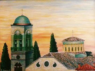 Ο ναός της Παναγίας Φανερωμένης το 1970 (πίνακας Ευγενίας Δημουλά)