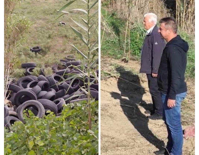 Ο δήμος Τυρνάβου καθάρισε τον Τιταρήσιο από ελαστικά που πέταξαν ασυνείδητοι